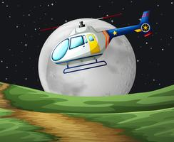 Helicóptero voando na noite fullmoon vetor