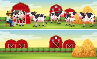 Agricultor e vacas na fazenda vetor