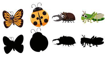 Conjunto de vários insetos vetor
