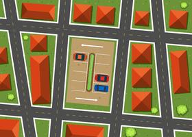 Vista aérea, de, vizinhança, com, casas vetor