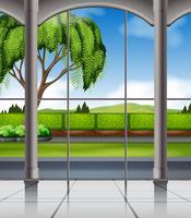 Vista da natureza a partir da janela vetor