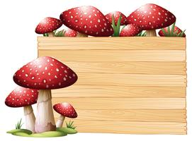 Tábua madeira, com, cogumelos vetor