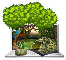 Aves selvagens e local de acampamento na tela do computador vetor