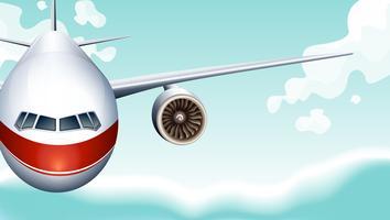 Cena, com, avião, voando, em, céu vetor