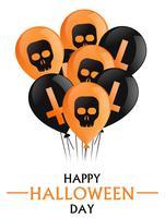 Feliz Dia das Bruxas. Uma braçada de balões pretos e laranja com cruzes e crânios. Ilustração vetorial plana
