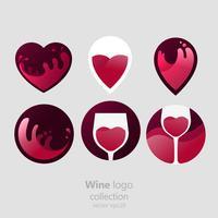 Conjunto de logotipo redondo com um copo de vinho. Cápsula com líquido em movimento. Vetorial, gradiente, apartamento, ilustração vetor