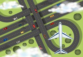 Vista aérea, com, avião, voando, em, a, céu vetor