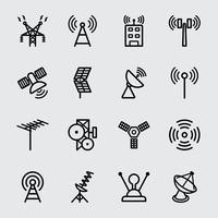 Antena e ícone da linha de satélite