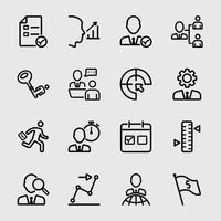 Gestão de negócios e ícone da linha de atribuição vetor
