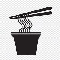 sinal de símbolo de ícone de macarrão vetor