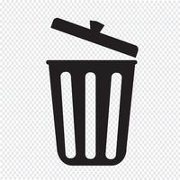 sinal de símbolo de ícone de lixo vetor