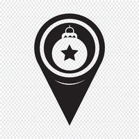 Map Pointer Christmas Ornament Ícone de bola vetor