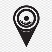 Mapa de ponteiro ícone de rosca vetor
