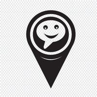 Ponteiro de mapa falando ícone de bolha vetor