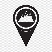 Ícone de montanhas de ponteiro de mapa vetor