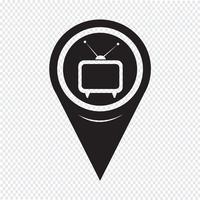 Ícone de TV de ponteiro de mapa vetor