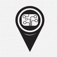 Ícone de placa de circuito de ponteiro de mapa vetor