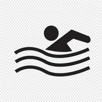 Sinal de símbolo de ícone de nadar vetor