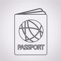 Sinal de símbolo de ícone de passaporte vetor