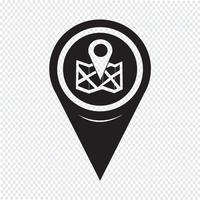 Ícone de localização do ponteiro do mapa vetor