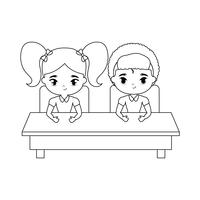 pequenos estudantes sentados na mesa da escola