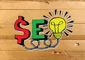 SEO Idea SEO Search Engine Optimization na ilustração de textura de papelão vetor