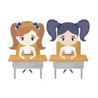 garotinhas estudante sentado em mesas de escola vetor