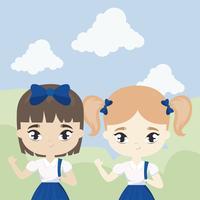 meninas de estudante pequeno bonito na cena da paisagem