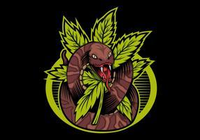 ilustração de design de vetor de cobra cannabis