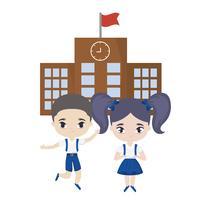 bonitinhos alunos na frente da escola vetor