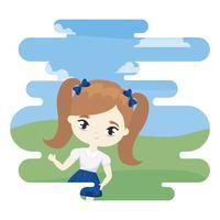 menina bonitinha estudante na cena da paisagem