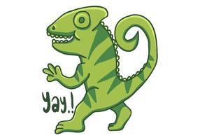 camaleão dos desenhos animados mão desenhada ilustração vetorial vetor