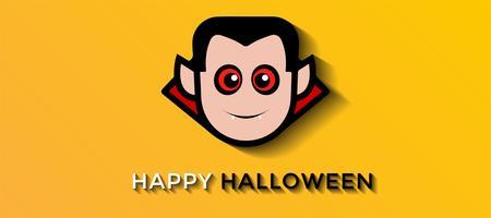 Vampiro assustador sorridente em fundo amarelo para o Halloween vetor