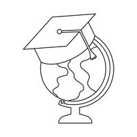 globo terrestre com graduação do chapéu vetor