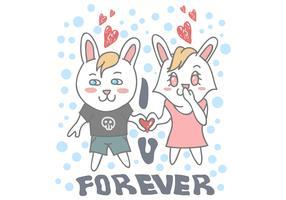 ilustração em vetor casal coelho