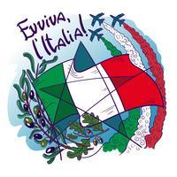 O logotipo contem símbolos de setas tricolor de Italy- Frecce tricolori no céu, no ramo de oliveira, no carvalho, na bandeira e na estrela. vetor