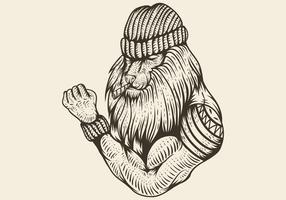 Leão forte fumaça mão desenhada ilustração vetorial