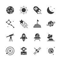 Conjunto de ícones de espaço. Ilustração vetorial