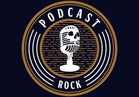 vetor de rock de podcast de crânio de microfone