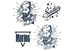 mão de homem marinheiro mão desenhar ilustração vetorial vetor