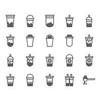 Conjunto de ícones de chá de leite bolha. Ilustração vetorial