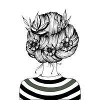 Penteado com flores. vetor
