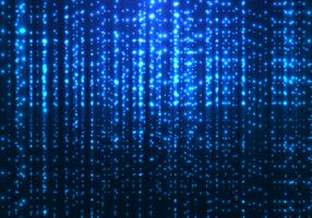 Linhas de partículas sparkling mágicas azuis do brilho da tecnologia abstrata da matriz no fundo escuro.