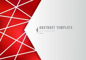 Polígonos brancos abstratos da forma geométrica do molde com linhas composição no fundo vermelho.