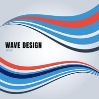 As ondas lisas abstratas da cor azul e vermelha projetam no fundo branco.