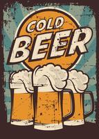 Vetor De Sinalização Retro Do Vintage Da Cerveja Fria