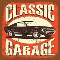Vector a ilustração com a imagem de um carro clássico velho, logotipos do projeto, cartazes, bandeiras, signage.