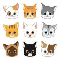 Conjunto de coleta de cabeça de gato sorridente bonito vetor