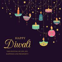Feliz Diwali. Festival de luz, saudação cartão. Cartazes coloridos de Diwali com símbolos principais. Deepavali festival de luz e fogo. Festival hindu das luzes indianas do deepavali. Ilustração vetorial