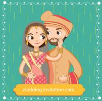 noiva e noivo indiano bonito no vestido tradicional para o cartão de convites de casamento vetor